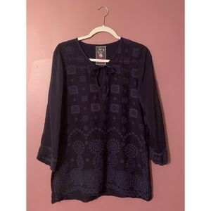 Johnny Was Stargazing Tie Tunic Top